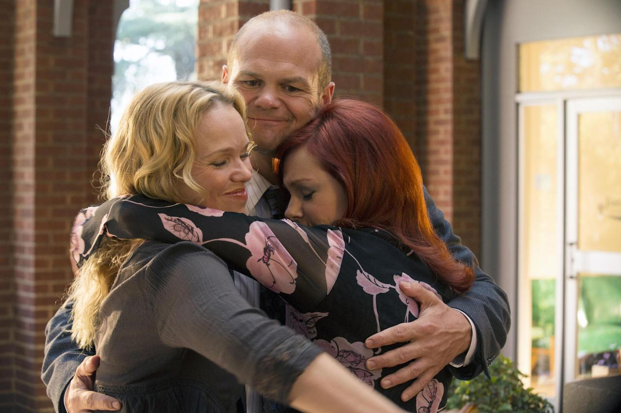 "Lauren Bowles, Chris Bauer, and Carrie Preston in the ""True Blood"" Season 6 episode, ""Dead Meat."""