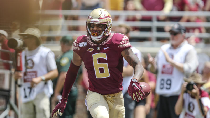 Florida State tight end Tre' McKitty (6) after recovering a fumble that was nullified by the officials during an NCAA football game against Boise State on Saturday, Aug. 31, 2019 in Tallahassee, Fla. (AP Photo/Gary McCullough)