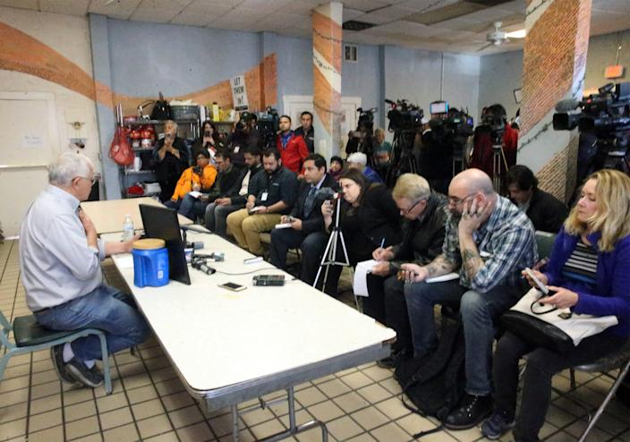Annunciation House director Ruben Garcia answers questions after reading a statement from the family of Jakelin Caal Maquin during a news conference Saturday, Dec. 15, 2018, at Casa Vides in Downtown El Paso.