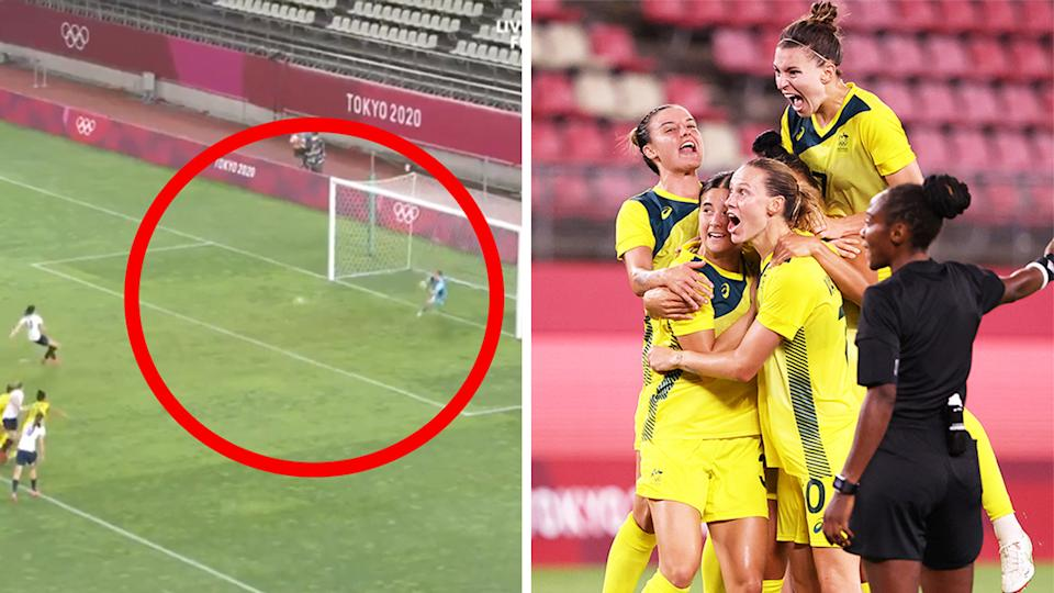 Teagan Micah (pictured left) saved a crucial penalty before the Matildas celebrated (pictured right) a stunning goal from Mary Fowler.