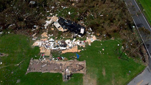 PHOTO: An aerial views shows homes damaged by Hurricane Laura, Aug. 27, 2020, in Grand Lake, La. (AFP via Getty Images)