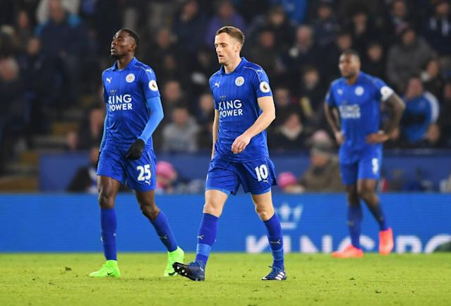 <p>Wilfred Ndidi (25) and Andy King of Leicester City (10) look dejected as Juan Mata of Manchester United scores their third goal during the Premier League match between Leicester City and Manchester United at The King Power Stadium on February 5, 2017 in Leicester, England. </p>