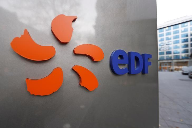 The logo of France's state-owned electricity company EDF is seen on the company's headquarters in Paris