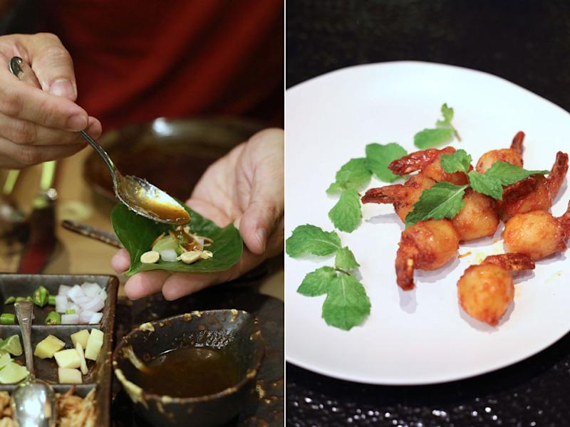 Make your own 'miang kham' parcel (left); 'linchee sod sai kung' or Cantonese style minced shrimp stuffed in lychees (right).