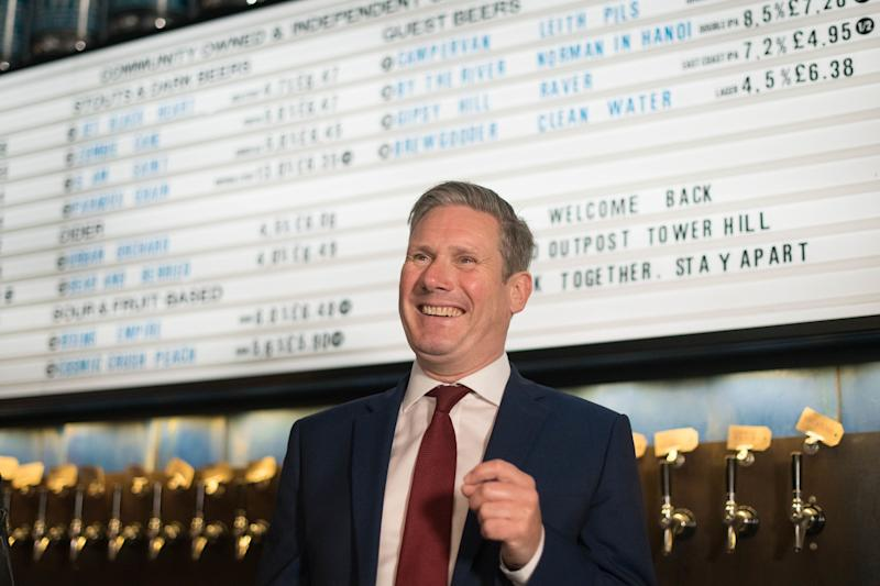 Labour leader Keir Starmer during a visit to the Brewdog Pub and Brewery in the City of London (Photo: PA)