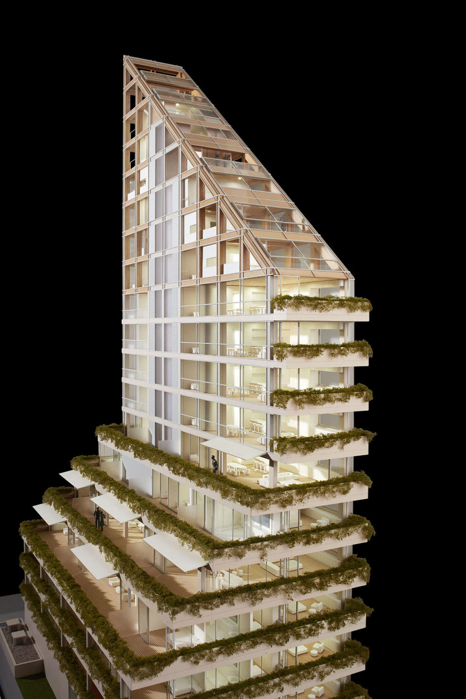<p>This model shows how greenery is expected to be integrated with Terrace House's exterior, similar to how it is used on Evergreen. (Martin Tessler/Shigeru Ban Architects) </p>