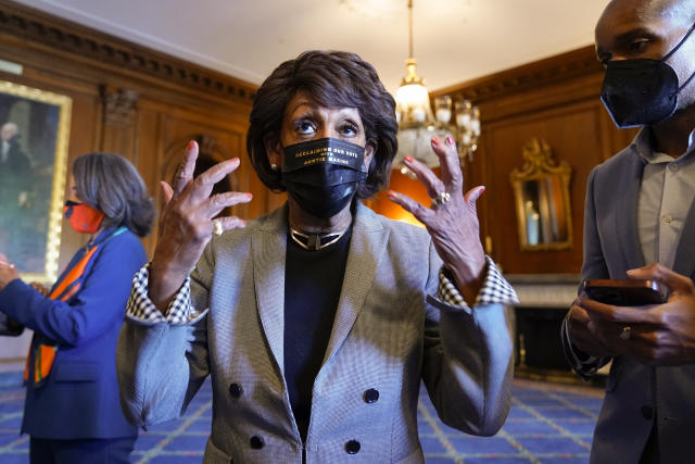 Rep. Maxine Waters, D-Calif., talks on Capitol Hill in Washington on Tuesday, April 20, 2021, as she waits for the verdict to be read in the murder trial of former Minneapolis police Officer Derek Chauvin in the death of George Floyd. (J. Scott Applewhite/AP)