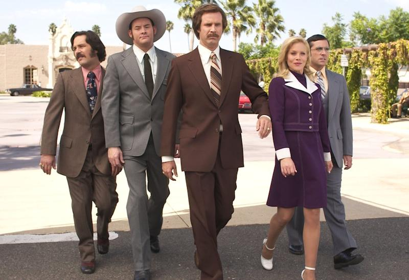 Anchorman: The Legend of Ron Burgundy (Will Ferrell in the centre) was ranked as one of the funniest films of all time