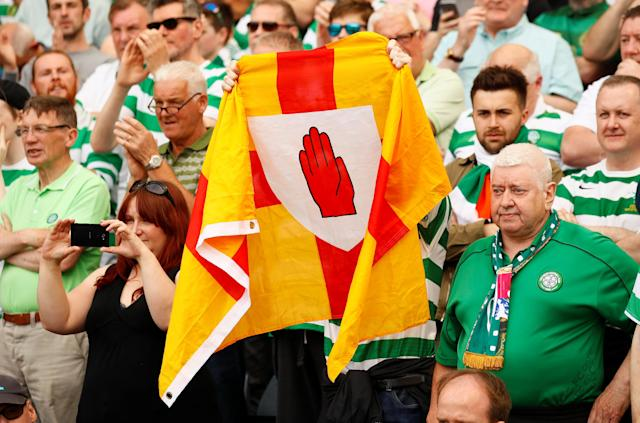 Soccer Football - Scottish Cup Final - Celtic vs Motherwell - Hampden Park, Glasgow, Britain - May 19, 2018 Celtic fans display a flag during the match Action Images via Reuters/Jason Cairnduff