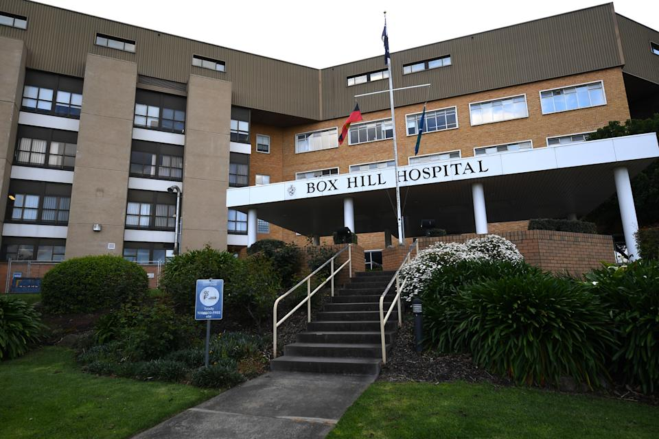 General view of the exterior of the Box Hill Hospital in Melbourne. Source