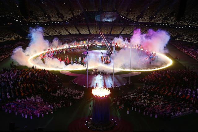 LONDON, ENGLAND - SEPTEMBER 09: A heart of flames is displayed on the arena floor during the closing ceremony on day 11 of the London 2012 Paralympic Games at Olympic Stadium on September 9, 2012 in London, England. (Photo by Julian Finney/Getty Images)