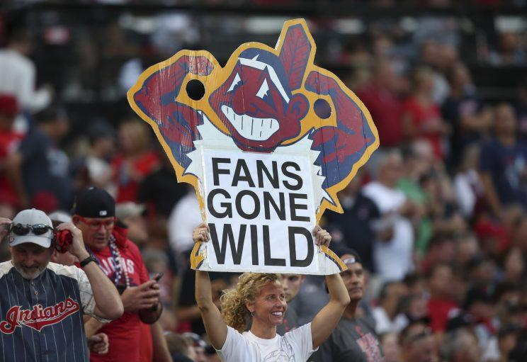 An activist believes Chief Wahoo and the Indians team name is discriminatory. (AP Photo)