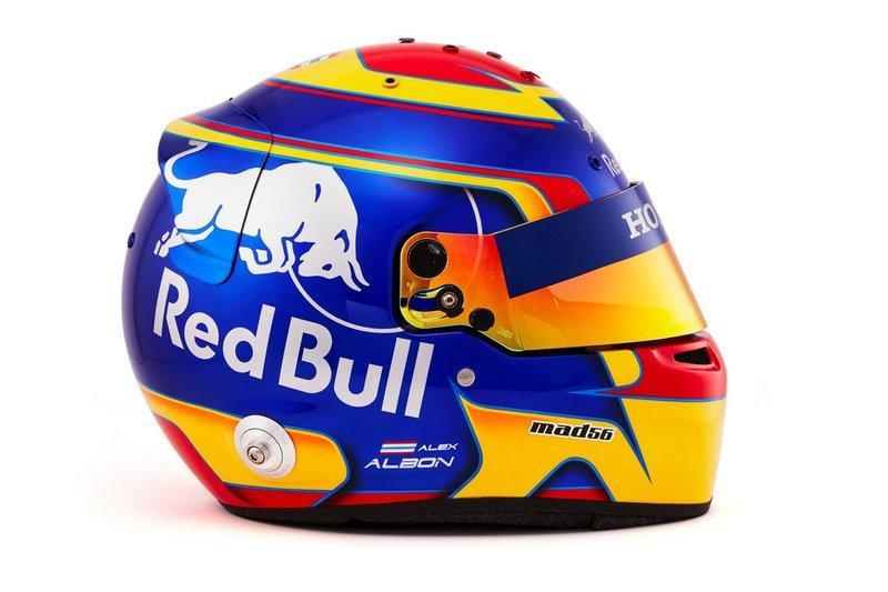 "Helmet of Alex Albon, Scuderia Toro Rosso <span class=""copyright"">Red Bull Content Pool</span>"