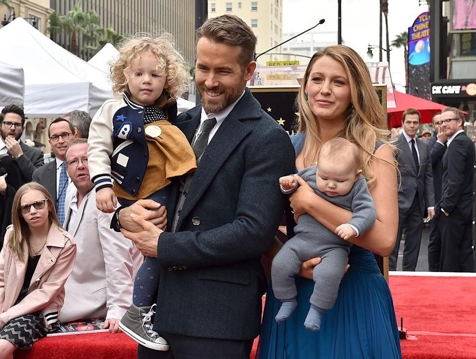 Ryan Reynolds and Blake Lively with daughters James, 3, and Ines, 1. (Photo: Getty Images)