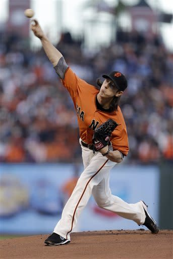 San Francisco Giants starting pitcher Tim Lincecum delivers against the Colorado Rockies during the first inning of a baseball game in San Francisco, Friday, Aug. 10, 2012. (AP Photo/Tony Avelar)
