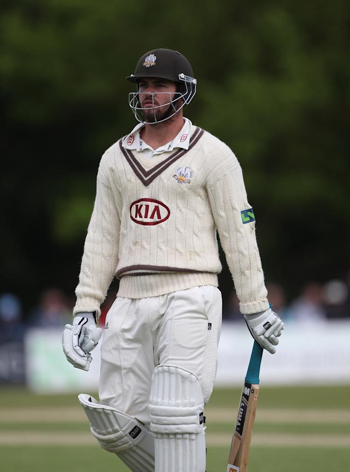 HORSHAM, ENGLAND - JUNE 09:  Tom Maynard of Surrey walks off after his dismissal during day 4 of the LV= County Championship match between Sussex and Surrey at Horsham Cricket Club on June 9, 2012 in Horsham, England.  (Photo by Tom Shaw/Getty Images)