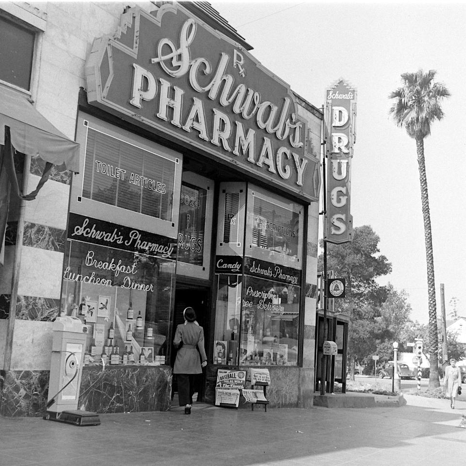 <p>Schwab's Pharmacy was once a popular hangout for celebrities on Sunset Boulevard. <br></p>