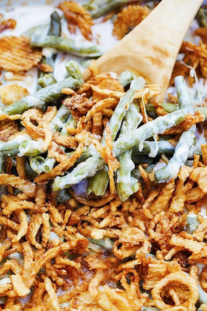 """<p>This classic recipe comes together easily in your slow cooker.</p> <p><strong>Get the recipe:</strong> <a href=""""https://www.lecremedelacrumb.com/slow-cooker-green-bean-casserole/"""" class=""""link rapid-noclick-resp"""" rel=""""nofollow noopener"""" target=""""_blank"""" data-ylk=""""slk:slow-cooker green bean casserole"""">slow-cooker green bean casserole</a></p>"""