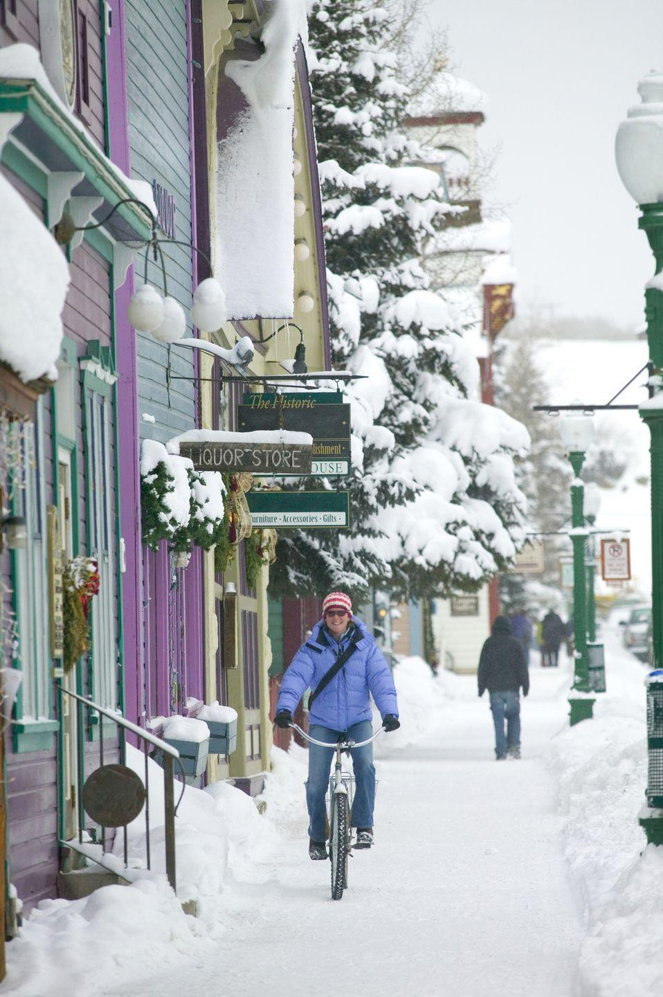 <p>Colorado has winter options a plenty for your winter fun, from Denver to Breckenridge to Aspen to Vail. But the colorful buildings on Elk Avenue just add to the charm of this tiny Colorado village in the midst of the Rocky Mountains. </p>
