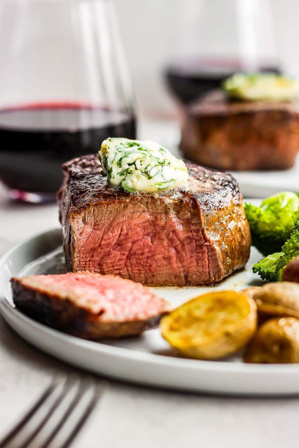"""<p>The words """"easy"""" and """"restaurant"""" don't typically go together in recipe titles, so you're no doubt intrigued by this one. It's an excellent option for Valentine's Day dinner. </p><p><strong>Get the recipe at <a href=""""https://www.thecookierookie.com/restaurant-style-steak/"""" rel=""""nofollow noopener"""" target=""""_blank"""" data-ylk=""""slk:The Cookie Rookie"""" class=""""link rapid-noclick-resp"""">The Cookie Rookie</a>.</strong></p><p><a class=""""link rapid-noclick-resp"""" href=""""https://go.redirectingat.com?id=74968X1596630&url=https%3A%2F%2Fwww.walmart.com%2Fip%2FThe-Pioneer-Woman-Cowboy-Rustic-14-Piece-Forged-Cutlery-Knife-Block-Set-Turquoise%2F53967703&sref=https%3A%2F%2Fwww.thepioneerwoman.com%2Ffood-cooking%2Fmeals-menus%2Fg35191871%2Fsteak-dinner-recipes%2F"""" rel=""""nofollow noopener"""" target=""""_blank"""" data-ylk=""""slk:SHOP KNIVES"""">SHOP KNIVES</a></p>"""