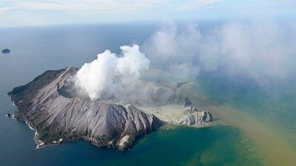 PHOTO: This aerial photo shows White Island in New Zealand after a volcanic eruption on Dec. 9, 2019. (George Novak/New Zealand Herald via AP)