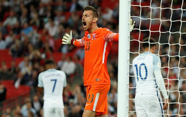 <p>Soccer Football – 2018 World Cup Qualifications – Europe – England vs Slovakia – London, Britain – September 4, 2017 Slovakia's Martin Dubravka reacts Action Images via Reuters/John Sibley </p>