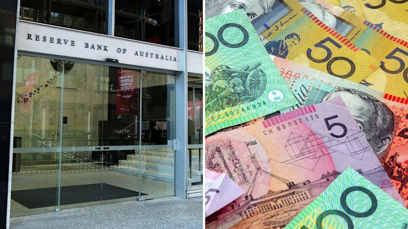 The entrance to the Reserve Bank of Australia in Sydney and a close-up picture of Australian dollar notes of different values. Images: Getty
