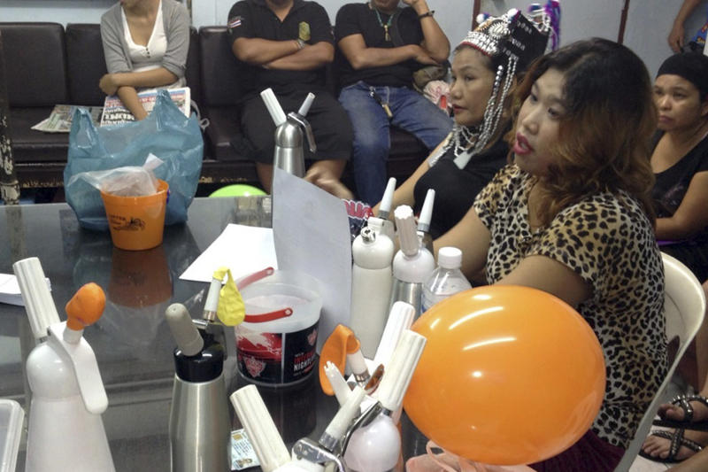 Thai police crackdown 'laughing gas' balloons