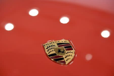 The logo of German carmaker Porsche AG is seen before the company's annual news conference in Stuttgart