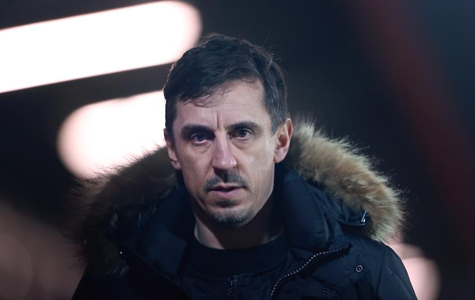 SALFORD, ENGLAND - MARCH 16:  Gary Neville the co-owner of Salford City looks on after the Sky Bet League Two match between Salford City and Colchester United at Moor Lane on March 16, 2021 in Salford, England. Sporting stadiums around the UK remain under strict restrictions due to the Coronavirus Pandemic as Government social distancing laws prohibit fans inside venues resulting in games being played behind closed doors.  (Photo by James Gill - Danehouse/Getty Images)