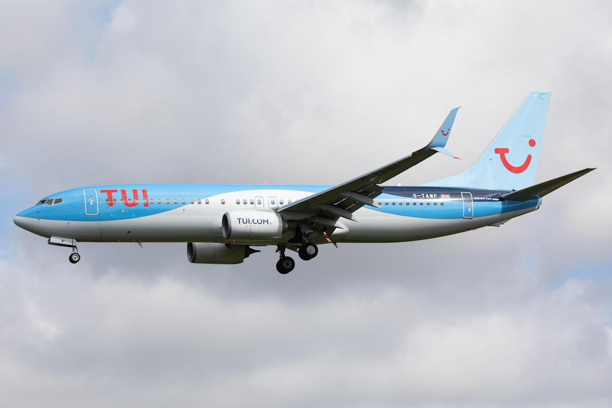 A TUI Airways Boeing 737 lands at Newcastle Airport, England on 6th May as the airline ramps up training flights in preparation for the lifitng of international travel restrictions. (Photo by Robert Smith/MI News/NurPhoto via Getty Images)