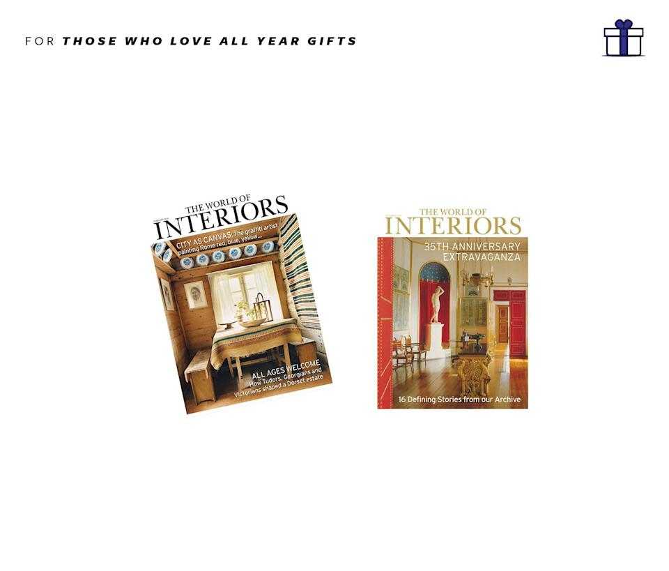 """<p>A must in all taste makers or wannabe taste maker's home, the ultimate interiors magazine. World of Interiors magazines, 12 issues + digital editions, approximately $35.50, <a href=""""https://secure.magazineboutique.co.uk/checkout/CNDE/checkout?PUBL=CNDE&PUBC=WOI&PROM=2WI15238&COUNTRY=GBR"""" rel=""""nofollow noopener"""" target=""""_blank"""" data-ylk=""""slk:WorldofInteriors.com"""" class=""""link rapid-noclick-resp"""">WorldofInteriors.com</a> </p>"""