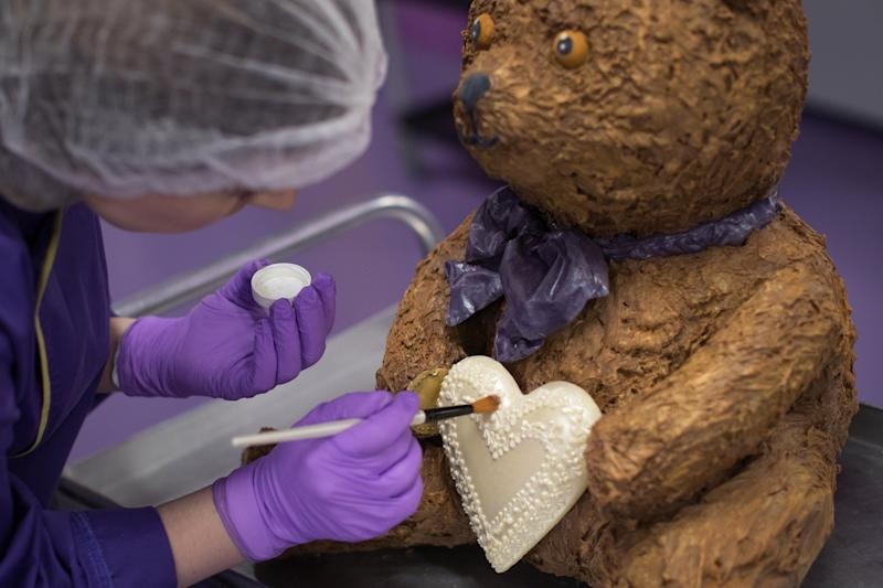 The baby name will be written on a white chocolate heart, once announced. [Photo: PA]