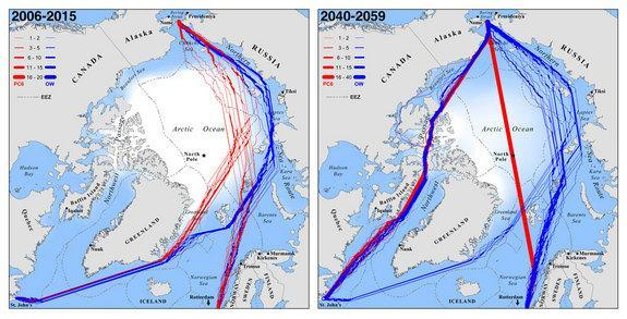 Less sea ice in the Arctic means more shipping routes. A new study predicts optimal September navigation routes for ice-strengthened (red) and common open-water (blue) ships traveling between Rotterdam, The Netherlands and St. John's, Newfoundl