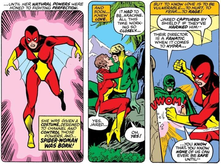 A panel showing Spider-Woman's days with the terrorist organization Hydra.