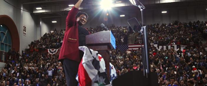 """Stacey Abrams in the documentary """"All In: The Fight for Democracy."""" <span class=""""copyright"""">(Amazon Studios)</span>"""