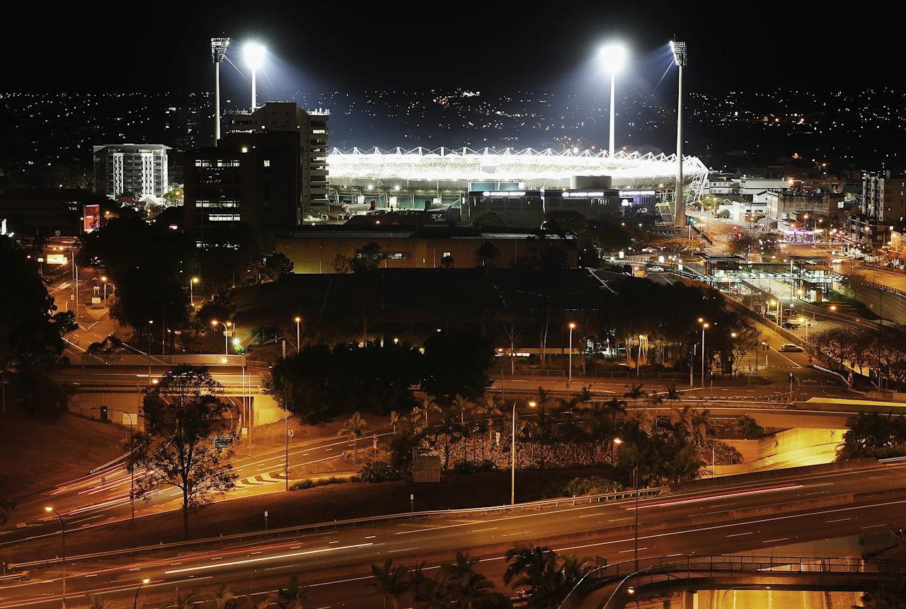 BRISBANE, AUSTRALIA - NOVEMBER 08:  The Gabba is seen lit up after an Australian nets session at The Gabba on November 8, 2012 in Brisbane, Australia.  (Photo by Ryan Pierse/Getty Images)