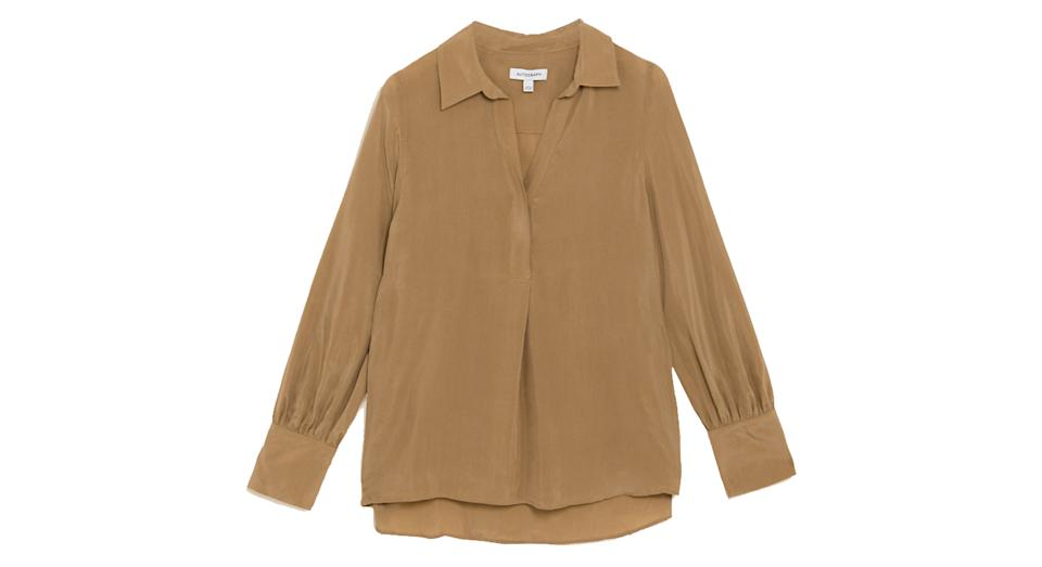 Collared Relaxed Longline Popover Blouse