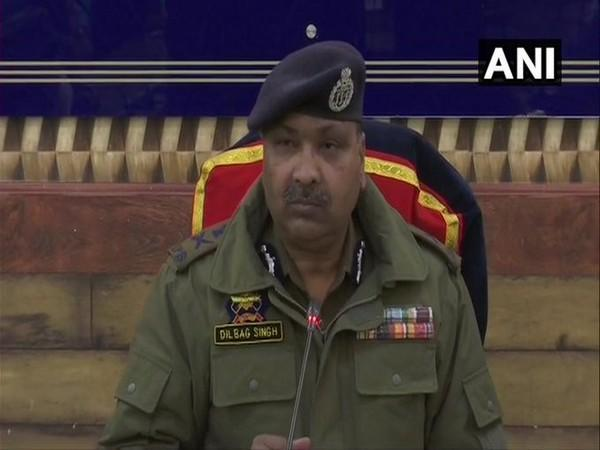 DGP Dilbag Singh addressing a press conference in Srinagar on Sunday.