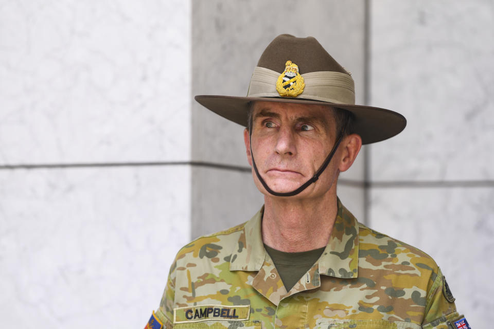 Chief of the Australian Defence Force Angus Campbell reacts during a press conference on the governments' bushfire response at Parliament House in Canberra. Source: AAP Image/Lukas Coch