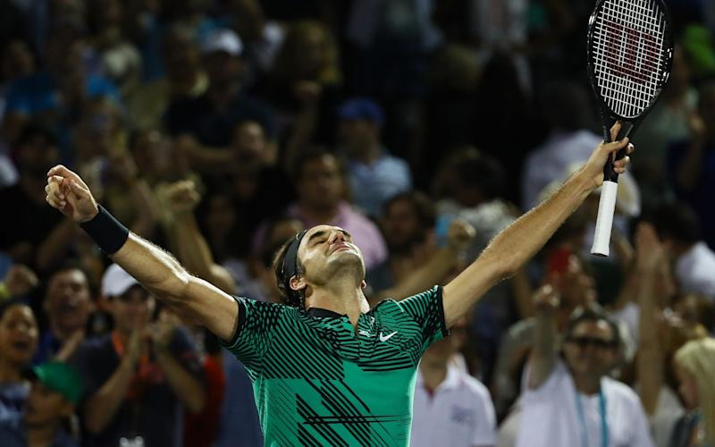 Roger Federer celebrates match point against Nick Kyrgios - Credit: Getty
