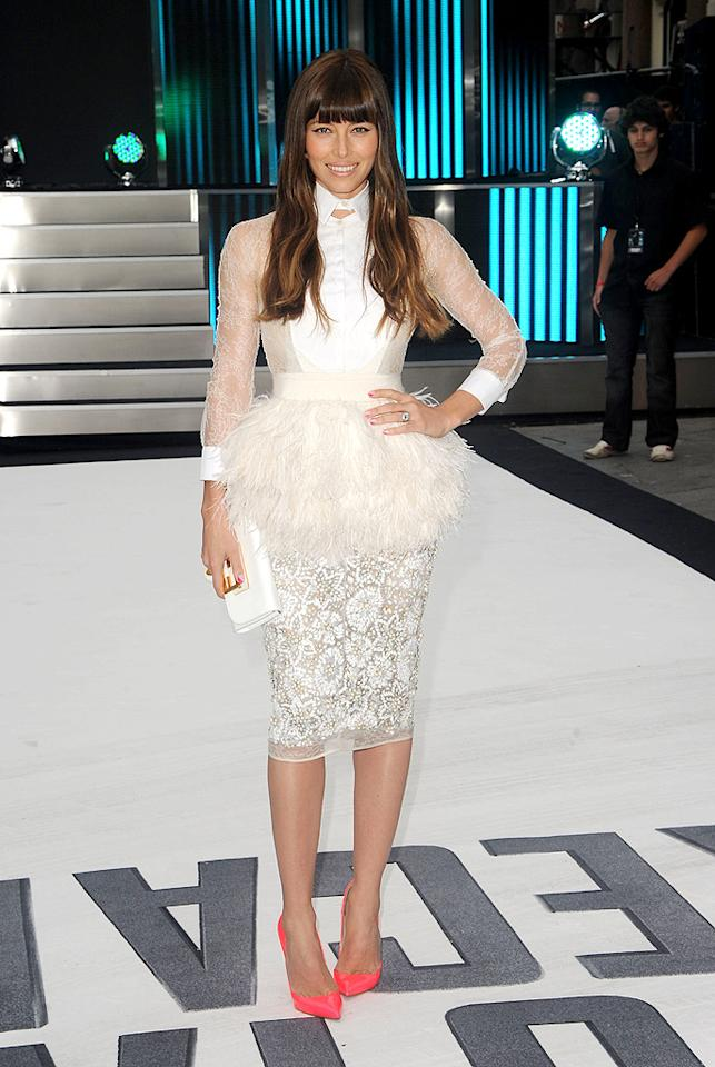 "Following in Kate's footsteps was her ""Total Recall"" co-star, Jessica Biel, who dared to pair lace and feathers with florescent Christian Louboutin heels. What do you make of her Giambattista Valli Couture tuxedo shirt and peplum-enhanced pencil skirt? Hot or not? (8/16/2012) Biel says Timberlake engagement is 'wonderful'"