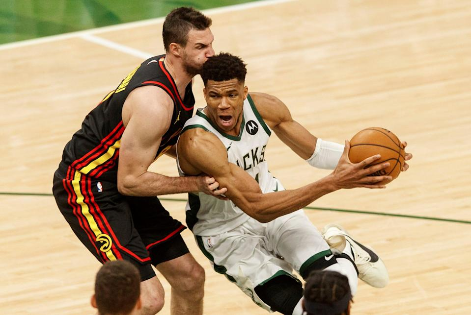 Giannis Antetokounmpo scored a game-high 25 points for the Bucks.