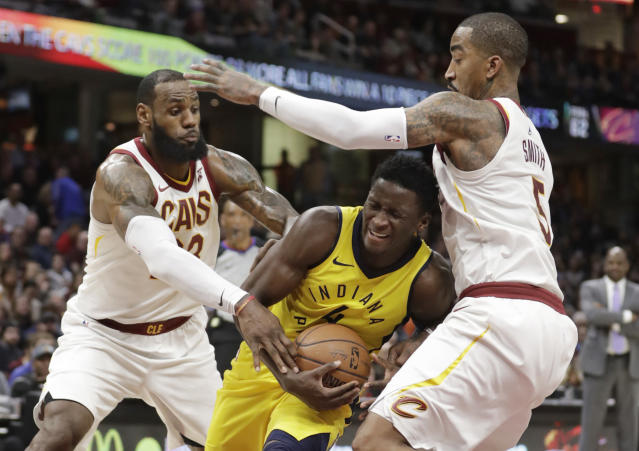 Pacers guard Victor Oladipo will try to flex his muscle against LeBron James and the Cavaliers. (AP)