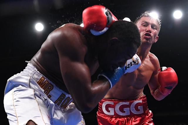 Kazakhstan's Gennady Golovkin knocked out Canadian Steve Rolls in the fourth round of their super middleweight fight at Madison Square Garden (AFP Photo/Sarah Stier)