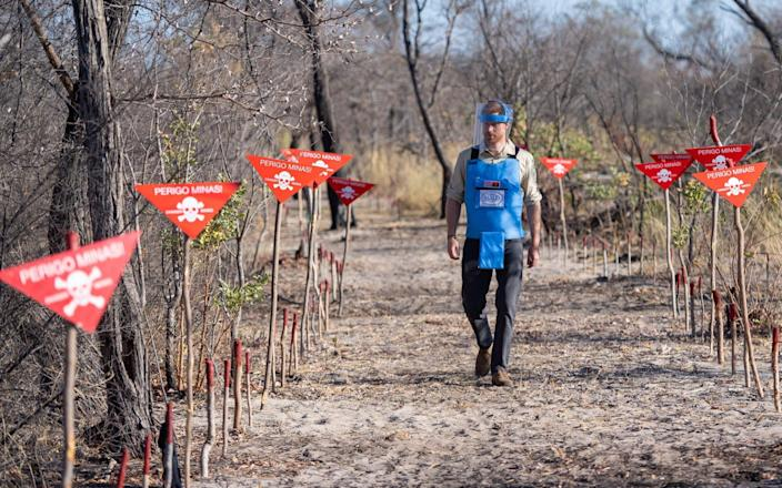 The Duke of Sussex walkng through a minefield in Dirico, Angola, during a visit to see the work of landmine clearance charity the Halo Trust,