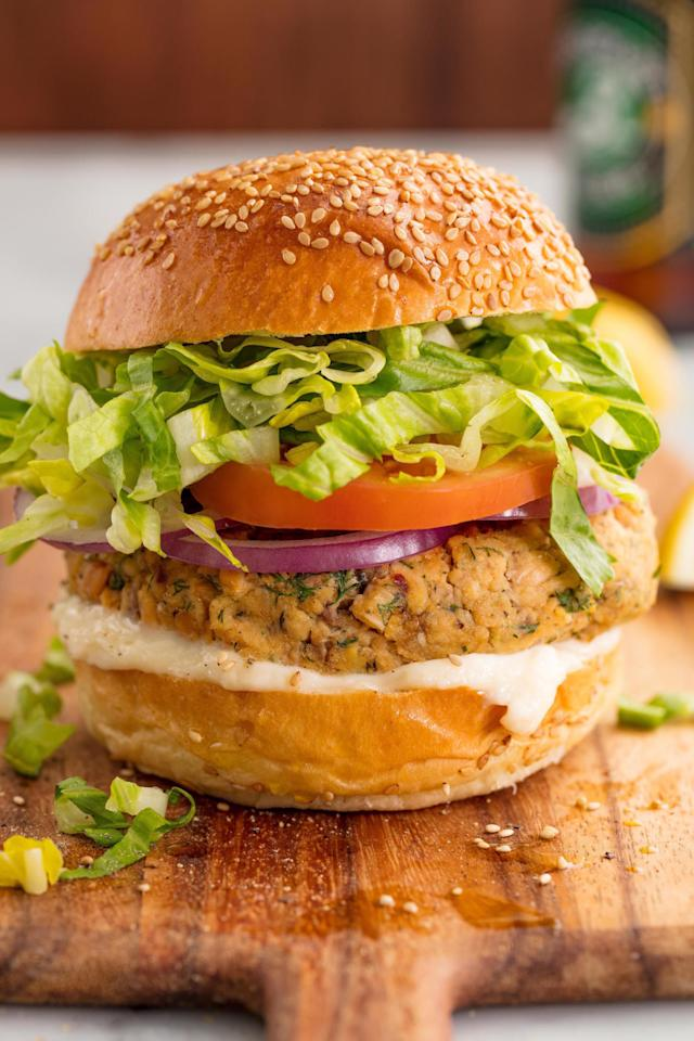 """<p>A light and easy dinner you can make in a snap.</p><p>Get the recipe from <a rel=""""nofollow"""" href=""""http://www.delish.com/cooking/recipe-ideas/recipes/a57945/homemade-salmon-burgers-recipe/"""">Delish</a>.</p><p><strong><em>BUY NOW: Le Creuset Skillet, $199.95, <a rel=""""nofollow"""" href=""""https://www.amazon.com/Creuset-Signature-Handle-Skillet-4-Inch/dp/B00B4UOTBQ/?tag=syndication-20&&ascsubtag=[artid"""">amazon.com</a>.</em></strong></p>"""