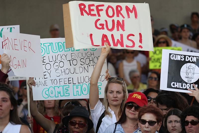 Hundreds gathered to protest against guns on the steps of the Broward County Federal courthouse on February 17, 2018 in Fort Lauderdale, Florida.