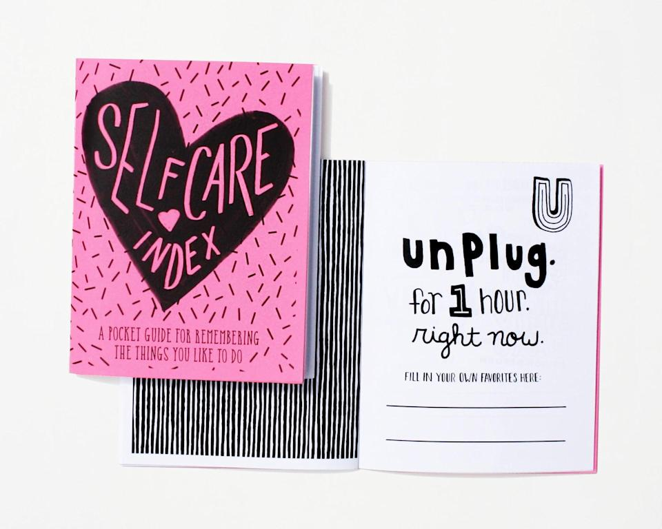 """<p>Sometimes, self-care can feel like the last thing on our priority list. This <span>Self-Care Index</span> ($6) is a pocket guide for """"remembering the things you like to do.""""</p>"""