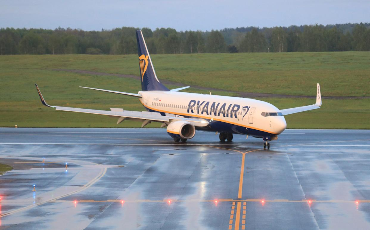 A photo taken on May 23, 2021 shows a Boeing 737-8AS Ryanair passenger plane (flight FR4978, SP-RSM) from Athens, Greece, that was intercepted and diverted to Minsk.